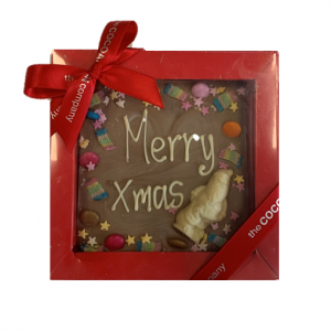 CHOCOLATE SLAB WITH SWEETS & MESSAGE IN RED BOX