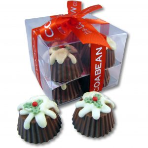 chocolate christmas puddings in gift box