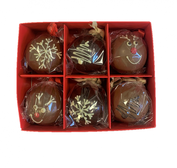 christmas baubles set of 6 chocolate