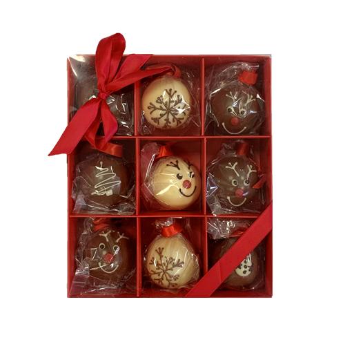 9 mini choc baubles red box