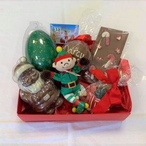 elf christmas hamper with chocolate