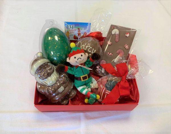 elf christmas hamper with chocolate