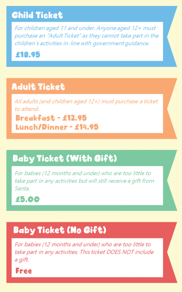 four ticket types to christmas event at cocoabean