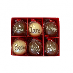 christmas baubles set of 6 chocolate personalised