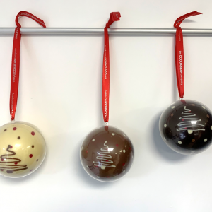 GIant Chocolate Hanging Baubles with red ribbon