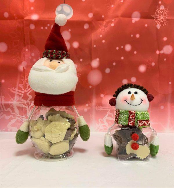 santa chocolate jar and snowman chocolate jar