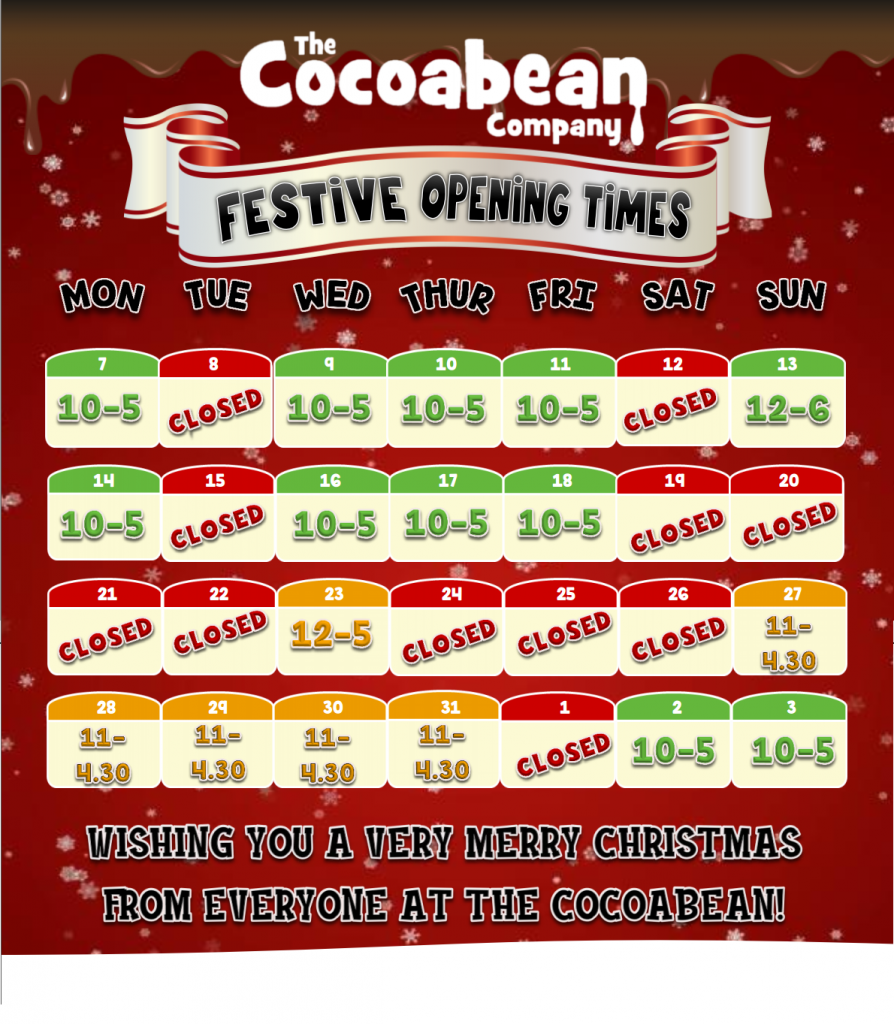 festive opening hours at the cocoabean 2020