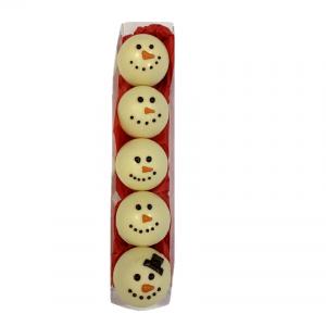 snowman themed white chocolate hot chocolate bombs