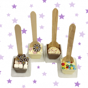 four chocolate spoon stirrers make your activity kit purple star backround