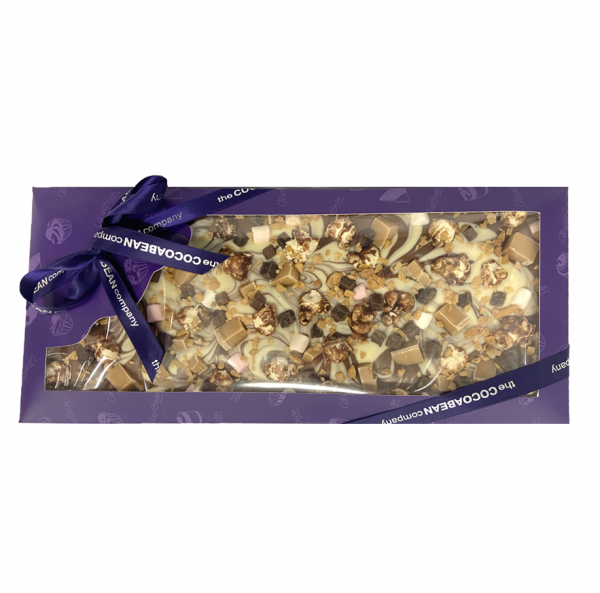 purple gift box with popcorn chocolate bar