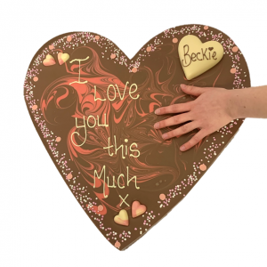 giant heart chocolate bar with personalised message