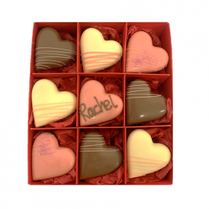 gift box of 9 chocolate hearts