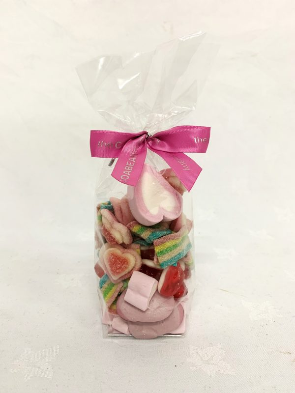 Bag of mixed valentines themed sweets with cocoabean ribbon