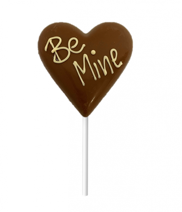"milk chocolate love heart with hand piped ""be mine"" message"