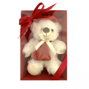 WHITE teddy inside a red box with red heart chocolate