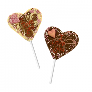 two heart shaped chocolate lollipops in milk and white chocolate and I love you message