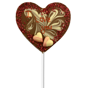 chocolate heart lollipop with valentines decoration