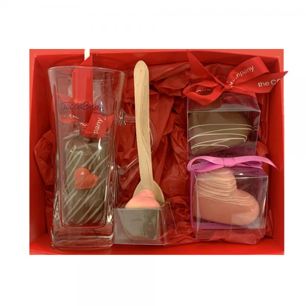 COCOABEAN GLASS, HOT CHOCOLATE GIFT SET WITH CHOCOLATE MARSHMALLOW DIPPING STICK, SPOON STIRRER AND TWO HOT CHOCOLATE BOMBS