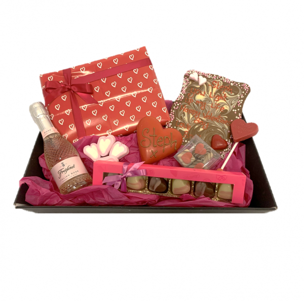 luxury valentine's gift hamper with chocolate, and prosecco
