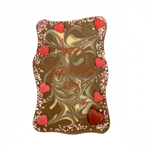 wavy chocolate slab with valentines decoration and message