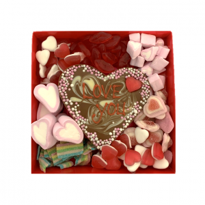 sweets box with chocolate heart