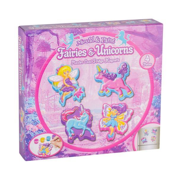 fairy and unicorn plaster cast fridge magnet set