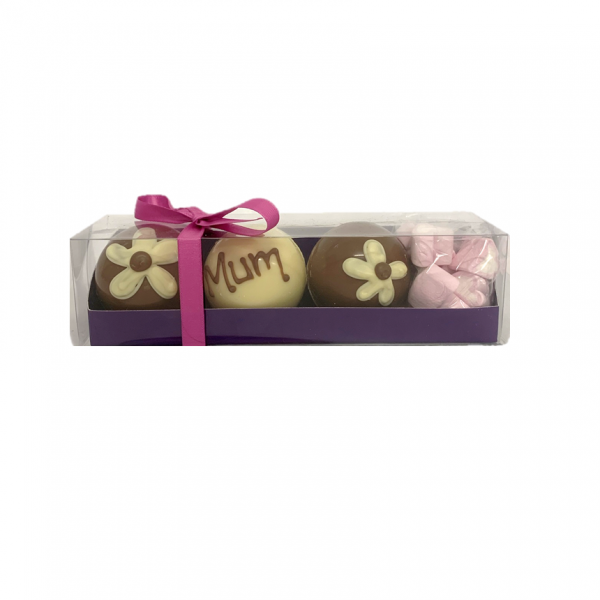 white and milk chocolate bombs with marshmallows