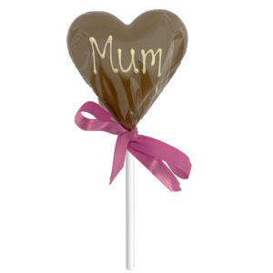 chocolate heart lollipop with mum message and pink ribbon