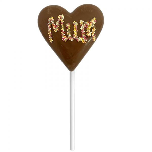 chocolate heart lollipop with mum in sprinkles
