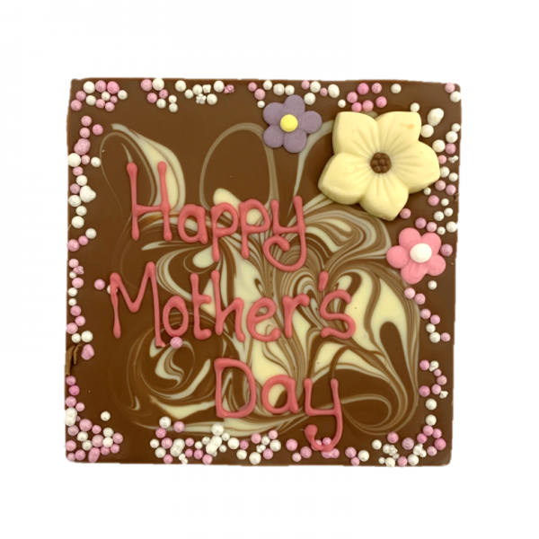 mothers day square chocolate slab with mothers day decoration and message