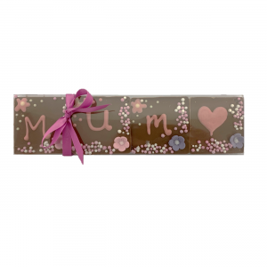 "set of chocolate tiles with ""mum"" hand piped and decoration"