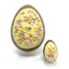 giant chocolate easter egg with mini egg inclusion and mini version