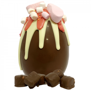 marshamallow, pink, white and milk chocolate easter with chocolate covered marshmallows