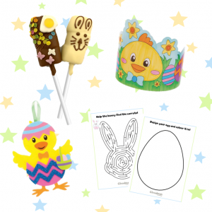 children's easter activity kit with hat, decoration and chocolate marshamallows pops
