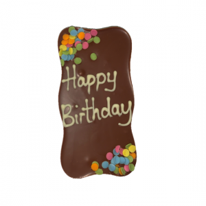 chocolate slab with happy birthday and confetti sprikles