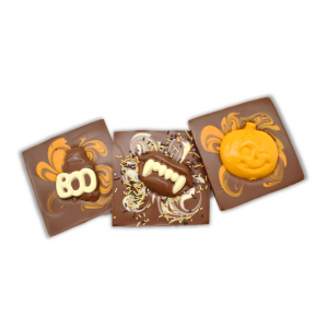 chocolate halloween bars with ghost, teeth or pumpkin